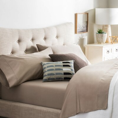 Crissman 600 Thread Count Sateen Sheet Set Size: Split California King, Color: Sandstone