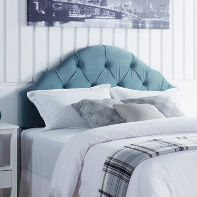 Everett Upholstered Panel Headboard Upholstery: Ice Blue Velvet, Size: King/California King