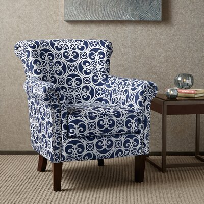 Olson Accent Club Chair with Arms Upholstered Silver Nail Head Upholstery: Navy/White