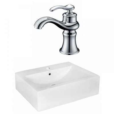 Xena Farmhouse Semi-Recessed Ceramic 20.25 Rectangular Wall Mount Bathroom Sink with Faucet and Overflow