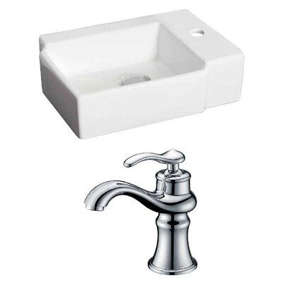 Ceramic Rectangular Vessel Bathroom Sink with Faucet