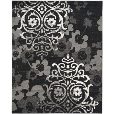 Adirondack Black/Silver Area Rug Rug Size: Rectangle 8 x 10