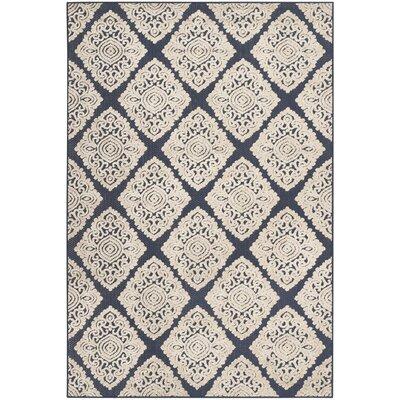 Mannox Cream/Navy Blue Indoor/Outdoor Area Rug Rug Size: Rectangle 53 x 77