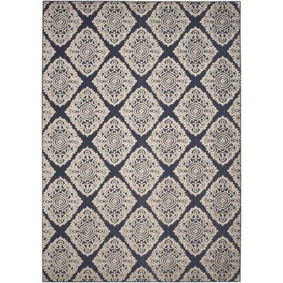 Mannox Cream/Navy Blue Indoor/Outdoor Area Rug Rug Size: Rectangle 8 x 112