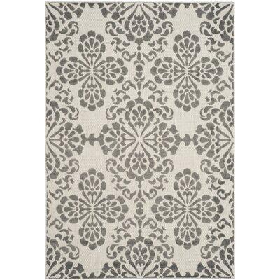 Mannox Cream & Gray Indoor/Outdoor Area Rug Rug Size: Rectangle 53 x 77