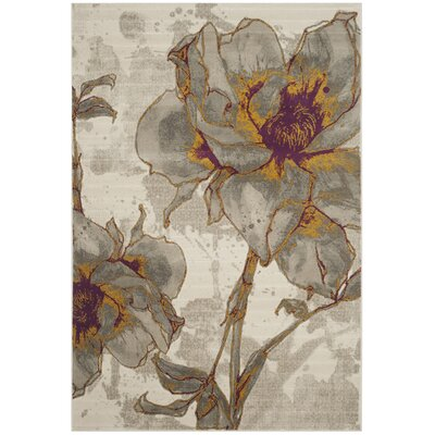 Daphne Ivory/Gray Area Rug Rug Size: Rectangle 52 x 76