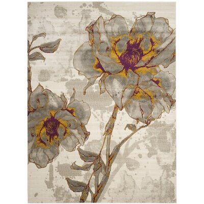 Daphne Ivory/Gray Area Rug Rug Size: Rectangle 82 x 11