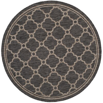 Rockbridge Natural/Black Indoor/Outdoor Area Rug Rug Size: Round 67