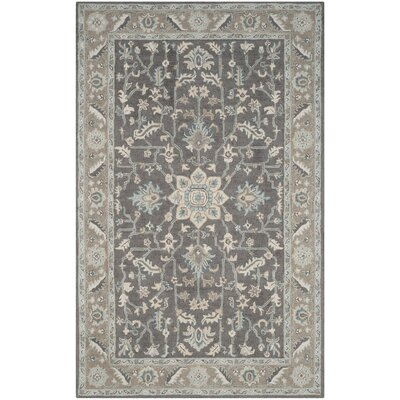 Kilbourne Hand-Tufted Dark Gray/Light Brown Area Rug Rug Size: Rectangle 5 x 8