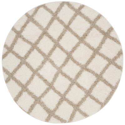 Knoxville Shag Beige/Ivory Area Rug Rug Size: 8 X 8 Round