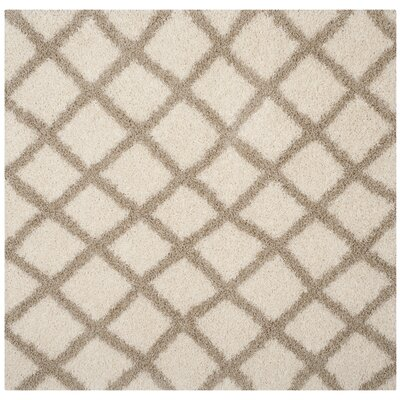 Knoxville Shag Beige/Ivory Area Rug Rug Size: Square 6