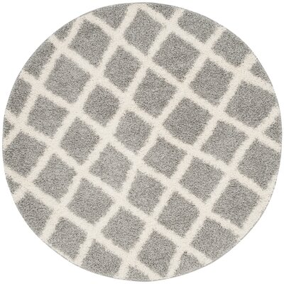 Knoxville Shag Gray/Ivory Area Rug Rug Size: Round 6