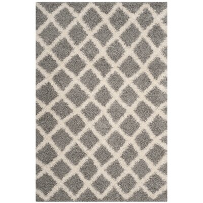 Knoxville Shag Gray/Ivory Area Rug Rug Size: Rectangle 51 x 76