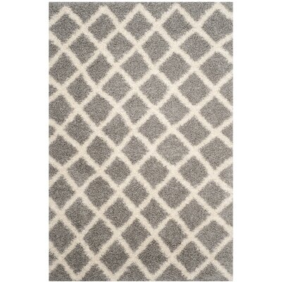 Knoxville Shag Gray/Ivory Area Rug Rug Size: Rectangle 6 x 9