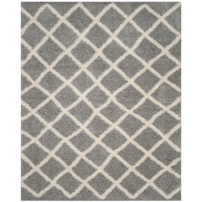 Knoxville Shag Gray/Ivory Area Rug Rug Size: Rectangle 8 x 10