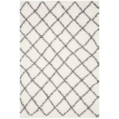 Laurelville Ivory / Dark Gray Area Rug Rug Size: Rectangle 6 x 9