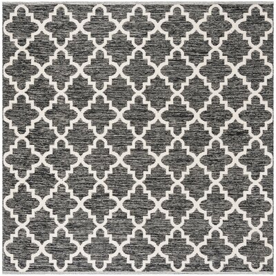 Valley Hand-Woven Black/Ivory Area Rug Rug Size: Square 6