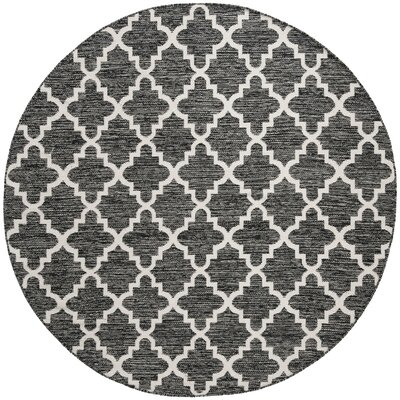 Valley Hand-Woven Black/Ivory Area Rug Rug Size: Round 6
