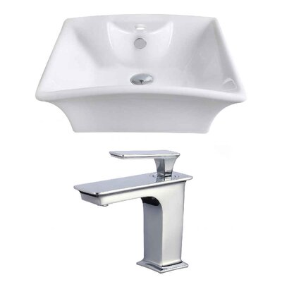 Above Counter Ceramic Rectangular Undermount Bathroom Sink with Faucet and Overflow