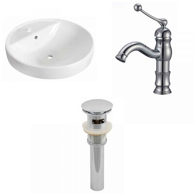 Ceramic Circular Drop-In Bathroom Sink with Faucet and Overflow