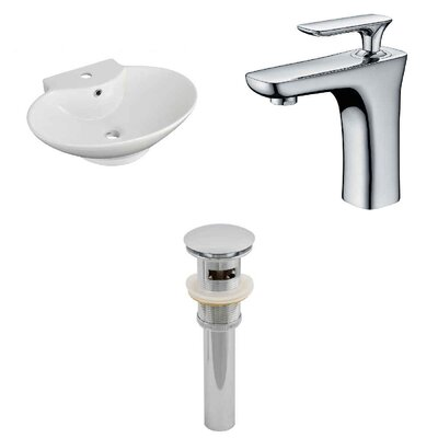 Ceramic 23 Bathroom Sink with Faucet and Overflow Installation Type: Wall Mount Sinks
