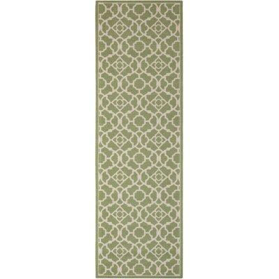 Tarlton Green/White Indoor/Outdoor Area Rug Rug Size: Runner 11 x 6