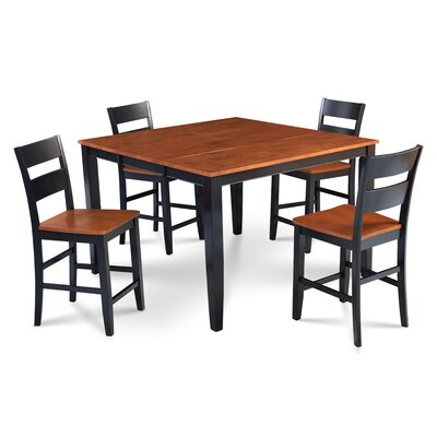 Hassen 5 Piece Counter Height Dining Set Color: Black