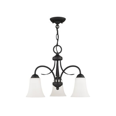Grady 3-Light Shaded Chandelier with Hanging Chain Finish: Black