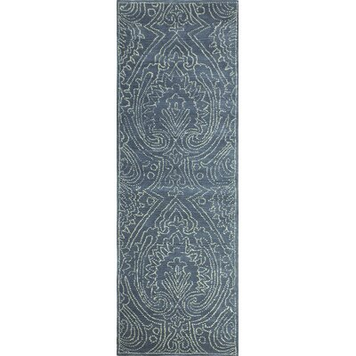 Goodridge Hand-Tufted Azure Area Rug Rug Size: Runner 26 x 8
