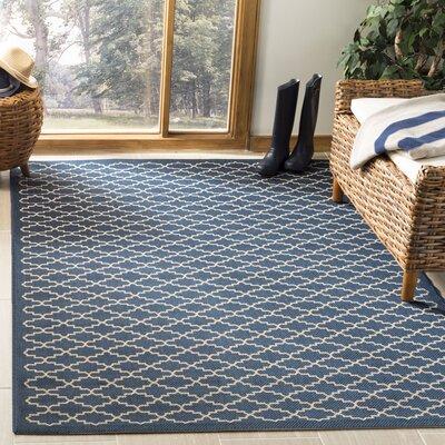 Louisville Navy/Beige Indoor/Outdoor Area Rug Rug Size: Rectangle 53 x 77