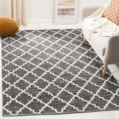 Valley Hand-Woven Black/Ivory Area Rug Rug Size: Rectangle 5 x 8
