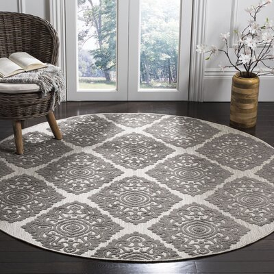 Mannox Cream/Gray Indoor/Outdoor Area Rug Rug Size: Round 67