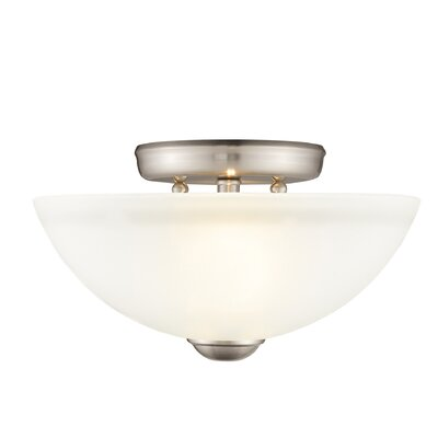 Irwin 2-Light Semi Flush Mount Finish: Brushed Nickel, Size: 11