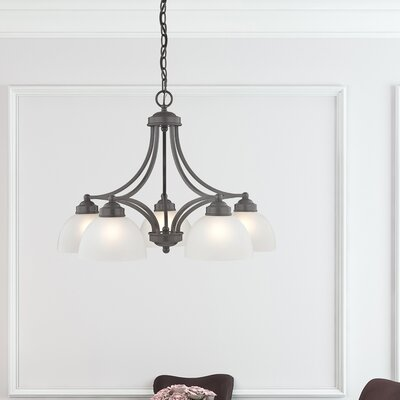 Irwin 5-Light Shaded Chandelier with Hanging Chain Finish: English Bronze