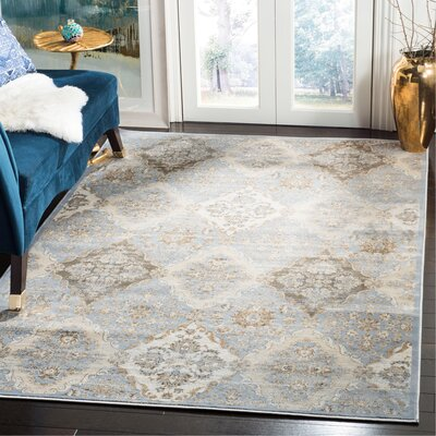 Barton Light Blue / Ivory Area Rug Rug Size: Rectangle 51 x 77