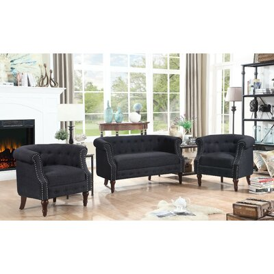 Kelty 3 Piece Living Room Set Upholstery: Charcoal