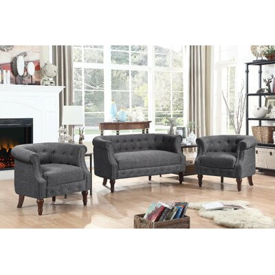 Kelty 3 Piece Living Room Set Upholstery: Smoky Gray