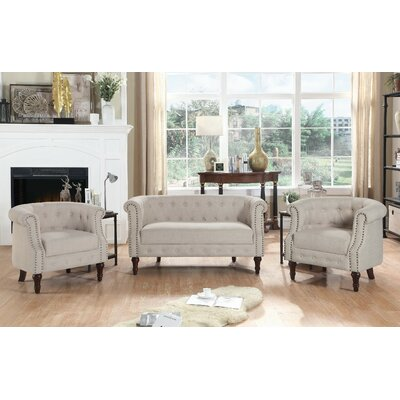 Kelty 3 Piece Living Room Set Upholstery: Warm Beige
