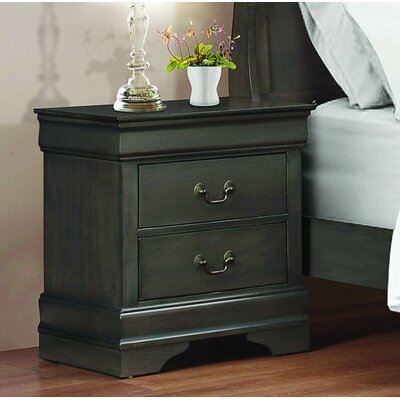 Waynesburg 2 Drawer Nightstand Color: Stained Gray