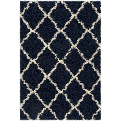 Hibbler Shag Blue/Ivory Area Rug Rug Size: Rectangle 51 x 76