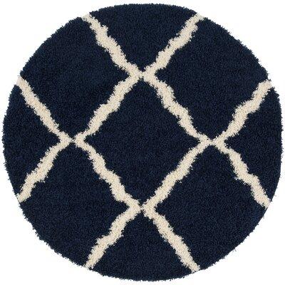 Hibbler Shag Blue/Ivory Area Rug Rug Size: Round 6