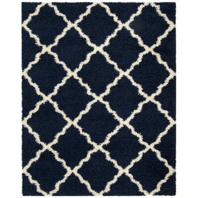 Hibbler Shag Blue/Ivory Area Rug Rug Size: Rectangle 8 x 10