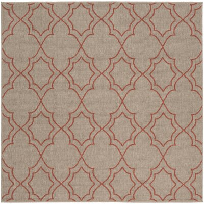 Amato Beige/Red Indoor/Outdoor Area Rug Rug Size: Square 73
