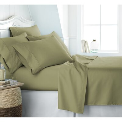 Crumbley 300 Thread Count 100% Cotton Sheet Set Size: Queen, Color: Green/Sage