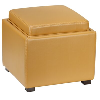 Newfield Tray Storage Ottoman Upholstery: Yellow