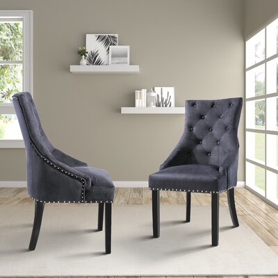 Halladay Upholstered Dining Chair Upholstery Color: Black