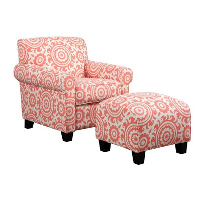 Clarke Armchair and Ottoman Upholstery: Coral Medallion