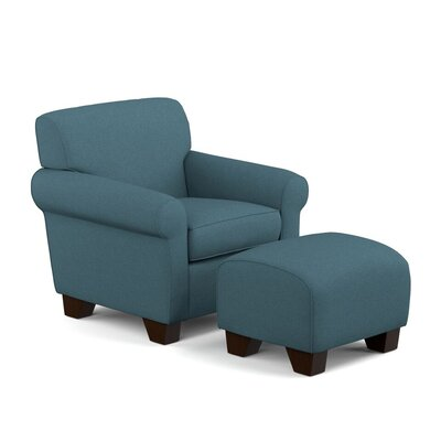 Oldbury Armchair and Ottoman Upholstery: Blue