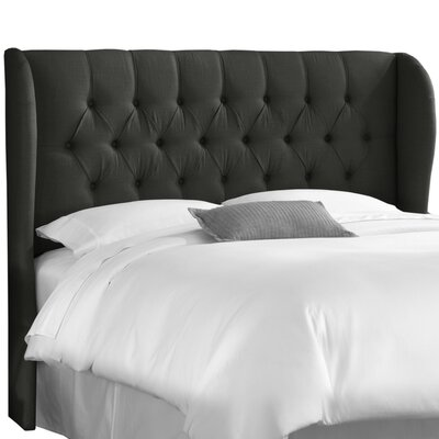 Twill Upholstered Wingback Headboard Upholstery: Twill Black, Size: King