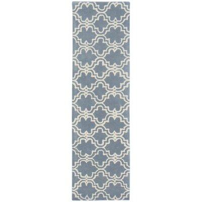 Lamontagne Trellis Wool Hand-Tufted Blue Area Rug Rug Size: Runner 23 x 8